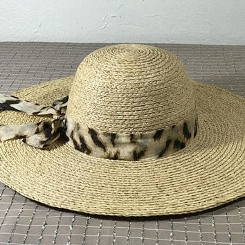 Vtg SCALA RAFFIA Deadstock in NATURAL / Organic Hand Crochet Raffia Sun Hat / Ladies Big Brim Hat with Linen Bow / Round Crown Crushable Hat