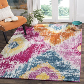 Safavieh Watercolor Fuchsia / Orange Area Rug (6'7 x 9') | Overstock.com Shopping - The Best Deals on 5x8 - 6x9 Rugs