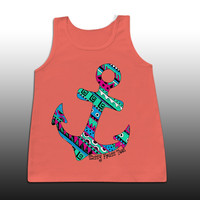 Sassy Frass Cute Aztec Anchor Girlie Bright Comfort Colors Tank Top