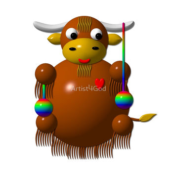 'Cute Yak with Yo-Yos' by Artist4God