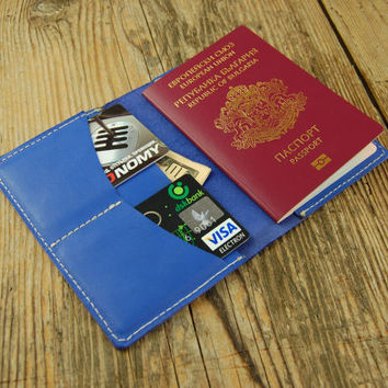 Leather passport wallet Travel wallet blue Leather passport cover Leather passport holder Passport Leather case