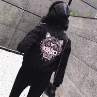 """""""Kenzo"""" Women Fashion Letter Tiger Head Embroidery Long Sleeve Rhombus Grid Cotton-padded Clothes Short Jacket Coat"""