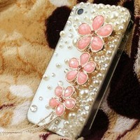 New Handmade Luxury Designer Bling 3D Colorful Special Crystal Pearl Flower Cheery Case Cover For Apple iPhone Smart Mobile Phones (iPod Touch 4 4G 4th Gen, Pink)