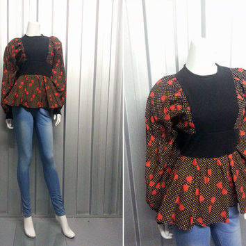 1970s Peplum Top by Mr Darren Leg o Mutton Sleeve Tunic Dress Love Heart Print Boho Chic Star Pattern Womens 70s Disco Clothing Empire Waist