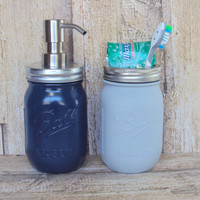 Navy Blue and Light Gray 2 Piece Mason Jar Bathroom Set, Mason Jar Lotion Dispenser, Mason Jar Soap Dispenser, Bathroom Storage