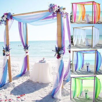 5m/10m Multi colors Sheer Organza Fabric Beach Wedding Ceremony Bouquet Arch Decoration