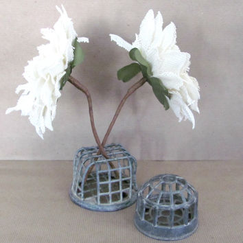 Vintage Flower Frogs, Rustic Metal Flower Frogs, 1950's Metal Cage Flower Arranger, Rustic Storage, Decor