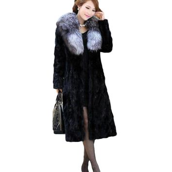7XL 8XL 2018 Plus Size Winter Women's Jackets Spliced Imitation Mink Fur Coat Fox Fur Collar Lady Trench X-Long Outerwear A1487