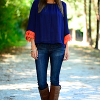Lace Yourself Blouse, Navy/Orange