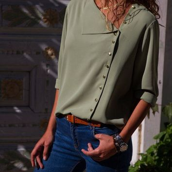 Sage Green Turndown Collar Asymmetric Button Down Blouses