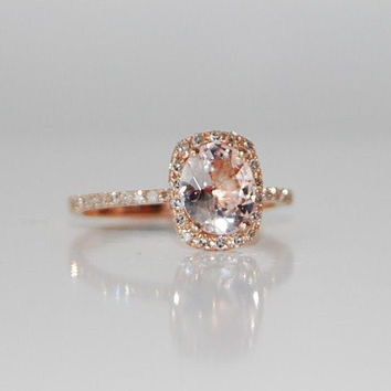 2ct Cushion ice peach champagne sapphire in 14k rose gold diamond ring  engagement ring f7288e3ae79c