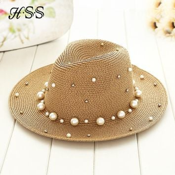 Summer British  pearl beading flat brimmed straw hat Shading sun hat Lady fashion beach hat Jazz hat