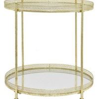 Three Hands Mirrored Metal Bar Cart - Metallic