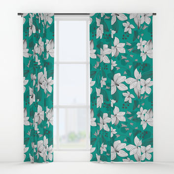 Avery Aqua Window Curtains by Heather Dutton