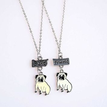 2PCS/SET NEW Fashion Jewelry DIY Lovely Pet Pug Pendant Necklaces Dog Charms Best Friends Children Necklace For Woman Girl Gift