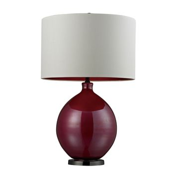 D268 Blown Glass Table Lamp in Cerise Pink and Black Nickel - Free Shipping!