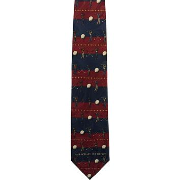 Appointed Apparel Novelty Golf Print Wide Polyester Tie - Red/Blue