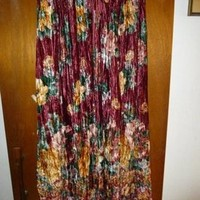 Miss Oxford Womens Long Full Panne Velvet Burgandy Floral Skirt