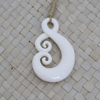 Curly Maori Fish Hook Pendant, Maori Bone Pendant, Bali Bone Carving Jewelry