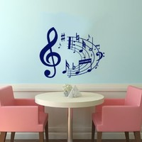 Note Notes Waves Music Musical Treble Clef Decor Recording Music Studio Wall Vinyl Decal Art Sticker Home Modern Stylish Interior Decor for Any Room Smooth and Flat Surfaces Housewares Murals Design Graphic Bedroom Living Room (4081)