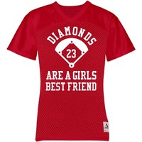 Baseball Girlfriend Diamonds Are A Girl's Best Friend Mesh Jersey from Customized Girl