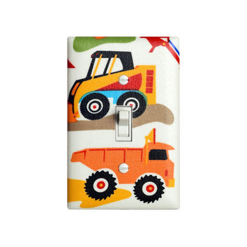 Baby Boy Nursery Light Switch Plate Cover / Dig It Construction Vehicles / Boys Play Room / Bright Primary Colors / Michael Miller