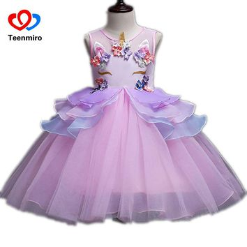 New Flower Prom Dress for Children Girls Unicorn Pearls Applique Kids Cosplay Princess Dresses Girl Birthday Party Tulle Tutu 10