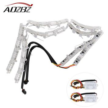 2Pcs Car Flexible Switchback LED Knight Rider Strip Light Amber And White For Headlight Flasher DRL Flowing Turn Signal Lights