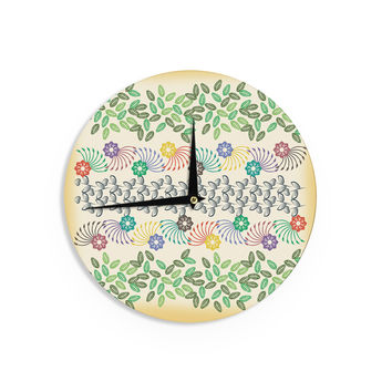 "Famenxt ""Flowers & Leaves Pattern"" Abstract GeometricWall Clock"