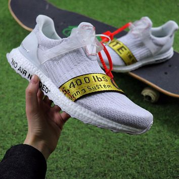 Sale OFF WHITE x Adidas Custom Ultra Boost 2.0 OW Sport Running Shoes White Yellow BA8841
