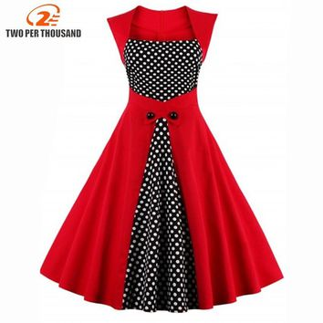 2017 Summer Women Robe Pin Up Dress Retro 50s Dress Polka Dots Pinup Rockabilly Sexy Party Dresses Vintage Tunic Vestidos Mujer