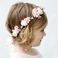 Pink and Ivory Flower Girl Crown. Flower Girl Flower Crown, Pink and Ivory, Pink and White, Hair Wreath, Flower Girl Circlet, Pink, Crown