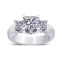 Princess diamonds 1.81 carat three stone ring solid white gold new
