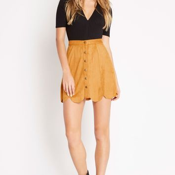 Lush Suede Scalloped Skirt