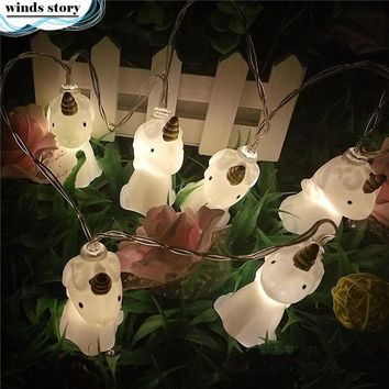 1set Cute Unicorn Head LED String Night Light Baby Shower Room Background Decor Halloween Party Kids Party Decor