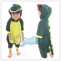 Kids Green Godzilla Dinosaur Animal Summer Onesuits Kigurumi Jumpersuit Nightwear Pajamas CP152176