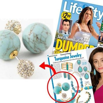Turquoise Stone & Crystal Double-Sided Earrings (As seen in Life & Style Magazine)