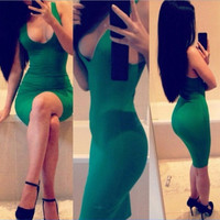 Sexy Backless Elegant Club Green One Piece Dress [9285180996]