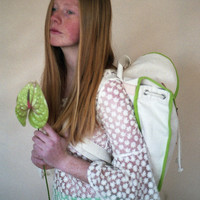 White & Green Heap Line Backpack - Handcrafted street style backpack - Vintage inspired retro bag