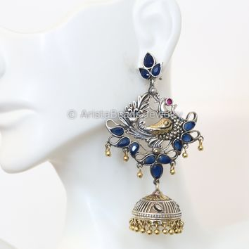 Layered Two Tone Blue Peacock Earring