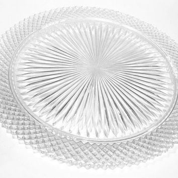 Clear Miss America Pattern Footed Cake Plate, Depression Glass Cake Plate, Diamond Point Glass Cake Plate