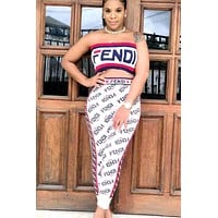 Fendi new tide brand female models sexy full printed letter printed wrapped chest dress two-piece suit White
