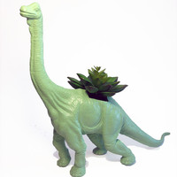ON SALE! Huge Recycled Green Apatosaurus Dinosaur Planter