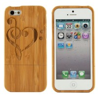 Boho Tronics TM Genuine Bamboo Amor Music Note Hearts Love Case Cover Hard Natural Smooth Wood Skin - Compatible With Apple iPhone 5
