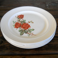 Vintage Orange Plates Floral Plates Dinner Plate Set Orange Kitchen Flower Plates 70s Kitchen Universal Cambridge Potteries Upico Ivory