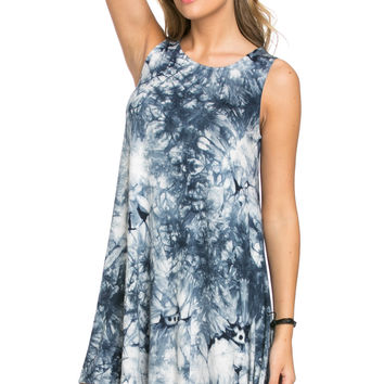 WishList Tie Dye Swing Dress Blue and Ivory