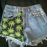 Custom Weed Leaf Maryjane Studded High Waisted Shorts