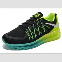 NIKE Trending Air Max Behind the hook section knited line Fashion Casual Sports Shoes Black green (green yellow soles)