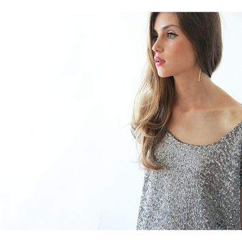 Silver Sequin top , Glamorous blouse, Cropped top , Sparkly top , Sequined blouse