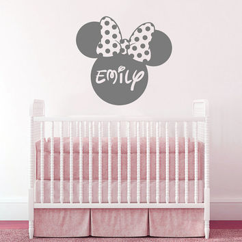 Wall Decal Vinyl Sticker Decals Home Decor Design Mural Disney Personalized Custom Baby Name Head Mice Ears Mickey Mouse Minnie Mouse AN630